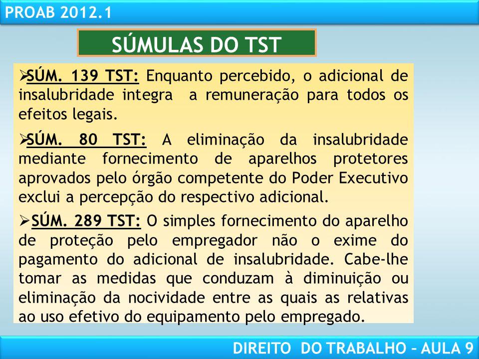 RESPONSABILIDADE CIVIL AULA 1 PROAB 2012.1 DIREITO DO TRABALHO – AULA 9 SÚMULAS DO TST SÚM. 139 TST: Enquanto percebido, o adicional de insalubridade