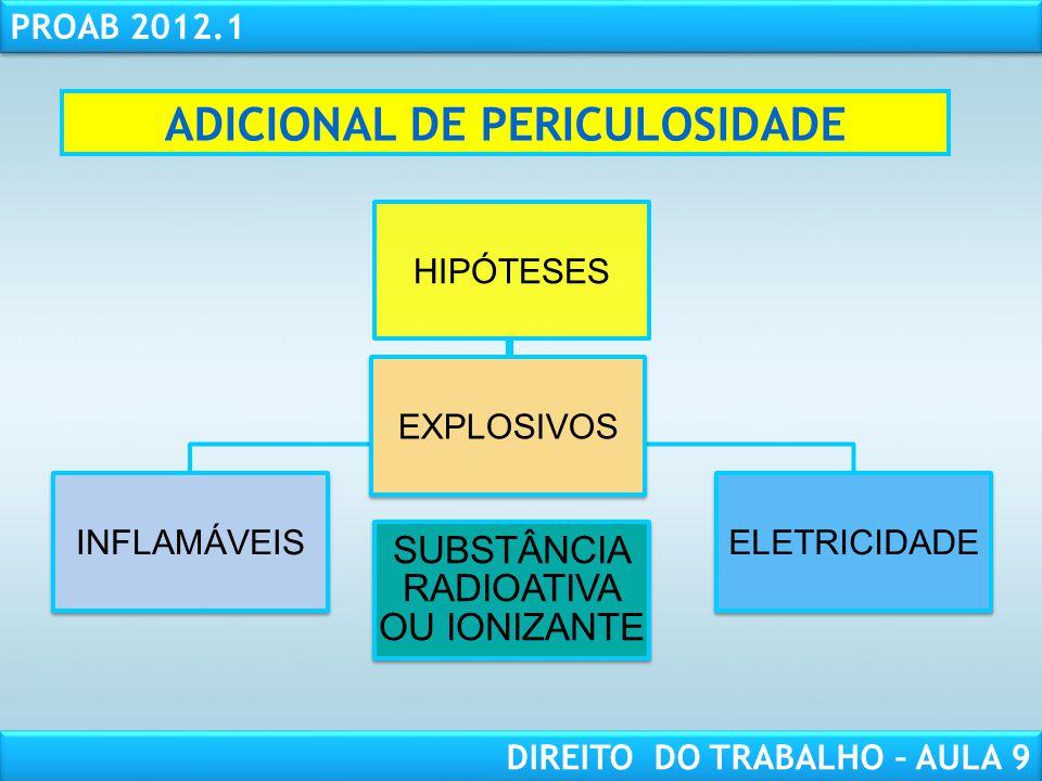 RESPONSABILIDADE CIVIL AULA 1 PROAB 2012.1 DIREITO DO TRABALHO – AULA 9 ADICIONAL DE PERICULOSIDADE HIPÓTESES INFLAMÁVEIS EXPLOSIVOS ELETRICIDADE SUBS