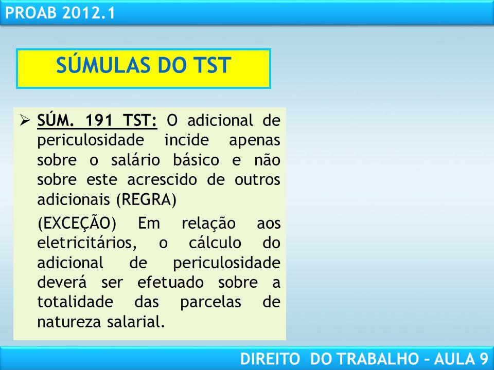 RESPONSABILIDADE CIVIL AULA 1 PROAB 2012.1 DIREITO DO TRABALHO – AULA 9 SÚM. 191 TST: O adicional de periculosidade incide apenas sobre o salário bási
