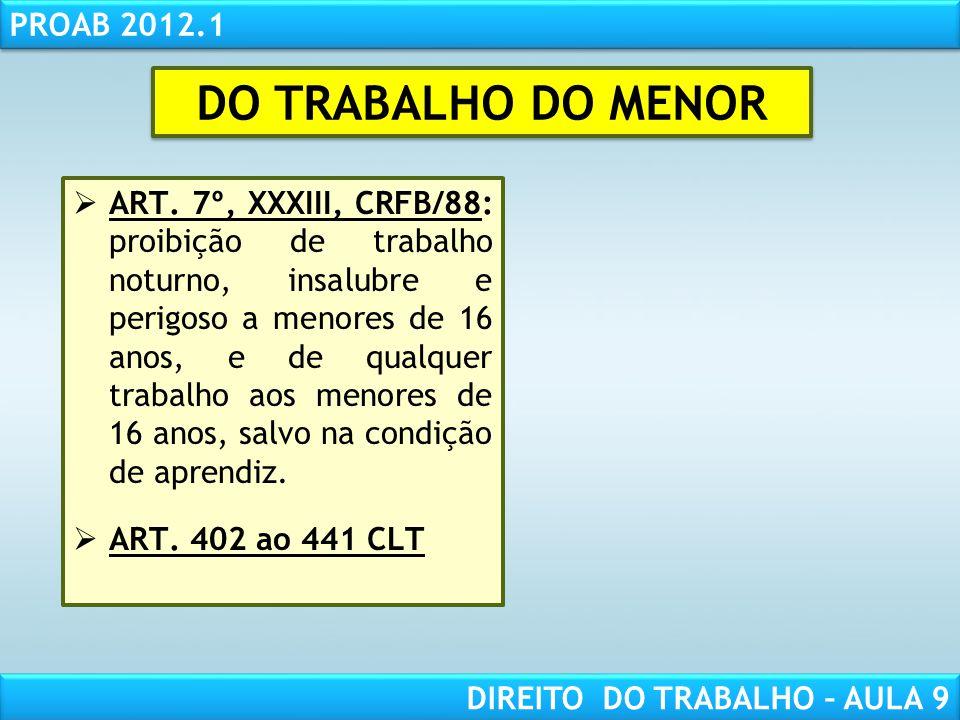 RESPONSABILIDADE CIVIL AULA 1 PROAB 2012.1 DIREITO DO TRABALHO – AULA 9 ART. 7º, XXXIII, CRFB/88: proibição de trabalho noturno, insalubre e perigoso