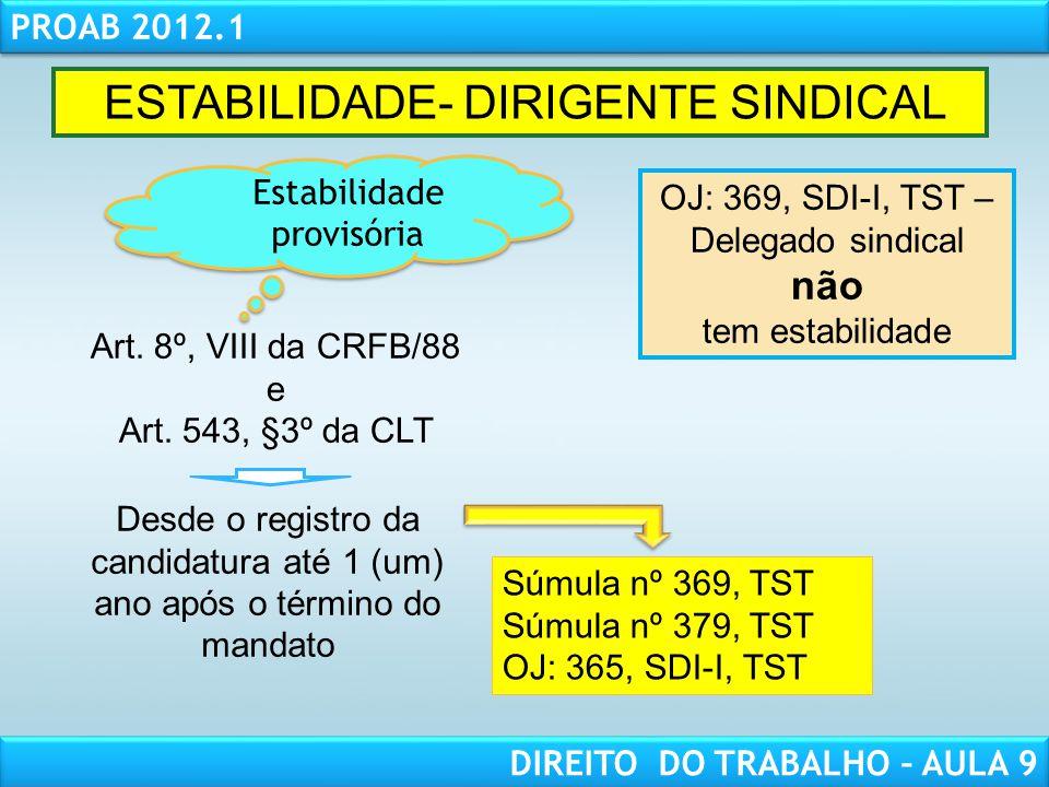 RESPONSABILIDADE CIVIL AULA 1 PROAB 2012.1 DIREITO DO TRABALHO – AULA 9 ESTABILIDADE- DIRIGENTE SINDICAL Estabilidade provisória Art. 8º, VIII da CRFB