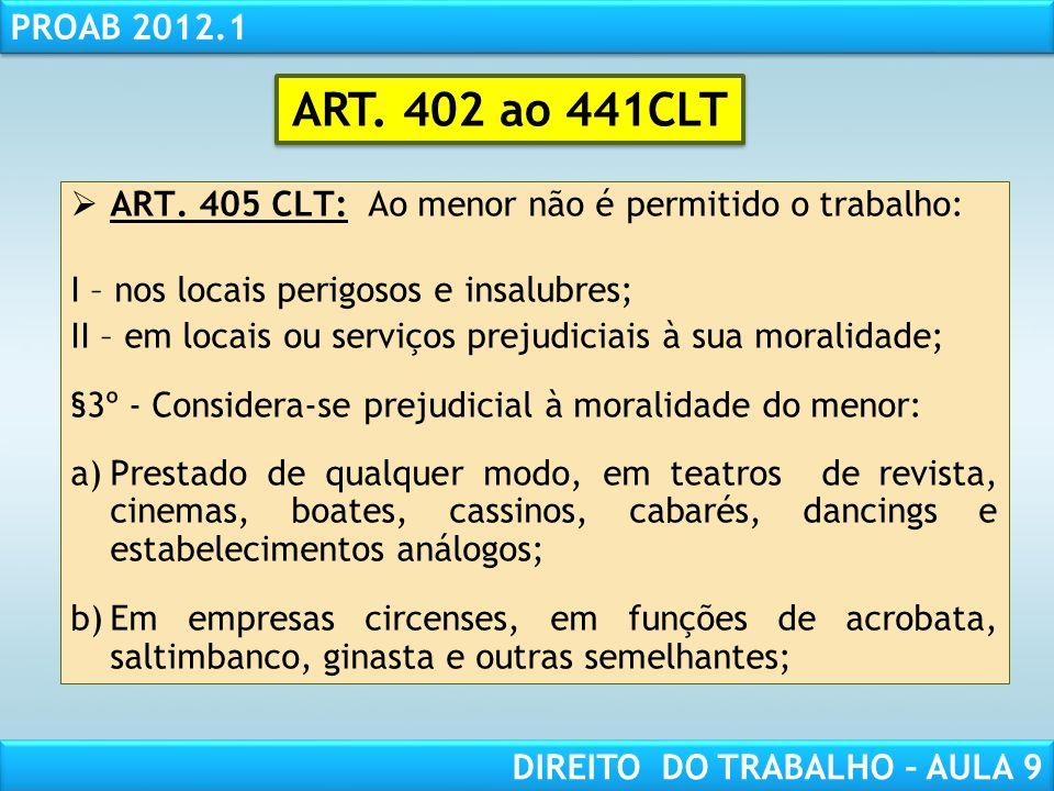 RESPONSABILIDADE CIVIL AULA 1 PROAB 2012.1 DIREITO DO TRABALHO – AULA 9 ART. 405 CLT: Ao menor não é permitido o trabalho: I – nos locais perigosos e