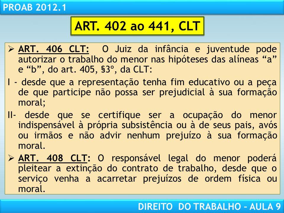 RESPONSABILIDADE CIVIL AULA 1 PROAB 2012.1 DIREITO DO TRABALHO – AULA 9 ART. 406 CLT: O Juiz da infância e juventude pode autorizar o trabalho do meno
