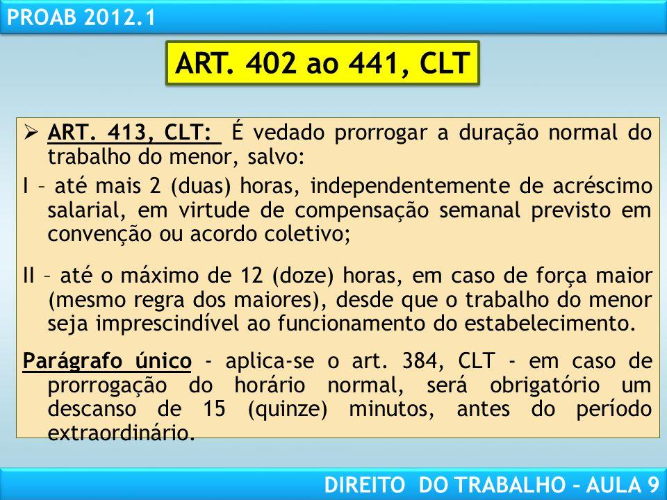 RESPONSABILIDADE CIVIL AULA 1 PROAB 2012.1 DIREITO DO TRABALHO – AULA 9 ART. 413, CLT: É vedado prorrogar a duração normal do trabalho do menor, salvo