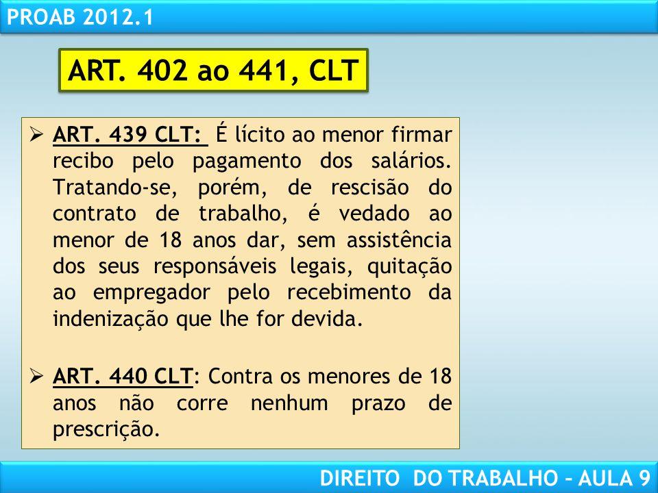 RESPONSABILIDADE CIVIL AULA 1 PROAB 2012.1 DIREITO DO TRABALHO – AULA 9 ART. 439 CLT: É lícito ao menor firmar recibo pelo pagamento dos salários. Tra