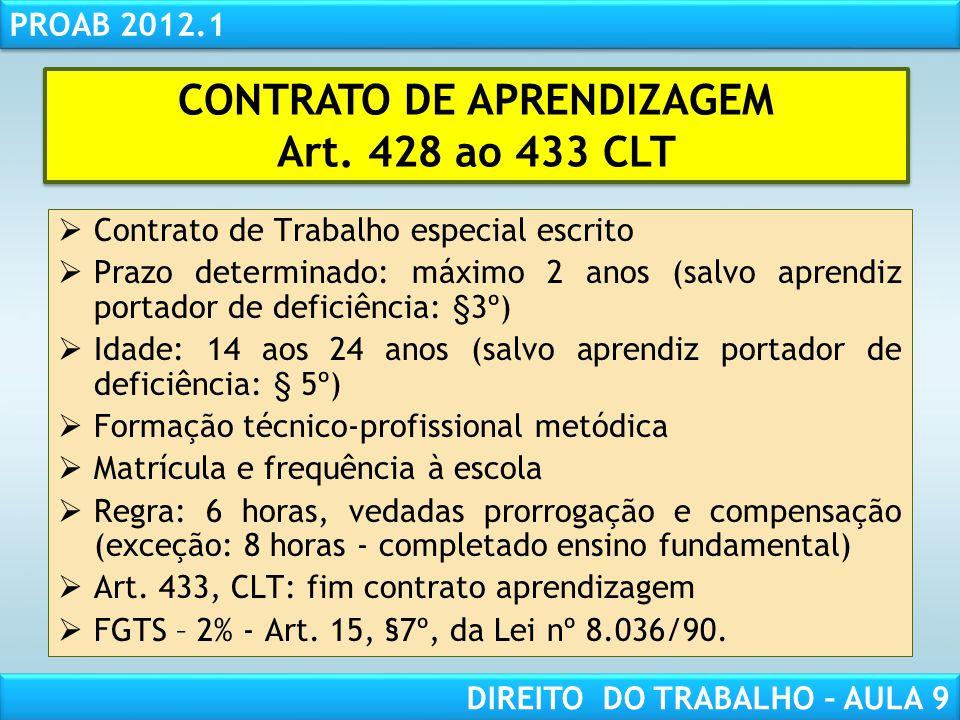 RESPONSABILIDADE CIVIL AULA 1 PROAB 2012.1 DIREITO DO TRABALHO – AULA 9 Contrato de Trabalho especial escrito Prazo determinado: máximo 2 anos (salvo
