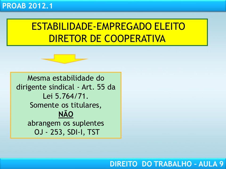 RESPONSABILIDADE CIVIL AULA 1 PROAB 2012.1 DIREITO DO TRABALHO – AULA 9 ESTABILIDADE-EMPREGADO ELEITO DIRETOR DE COOPERATIVA Mesma estabilidade do dir