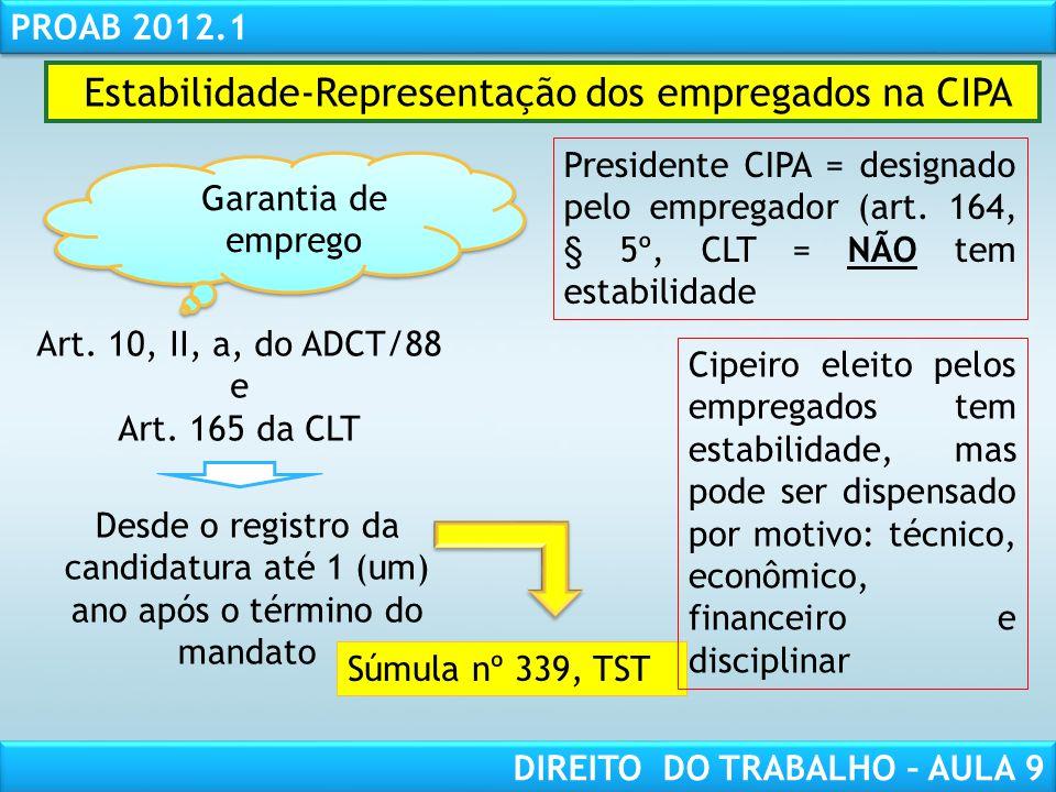 RESPONSABILIDADE CIVIL AULA 1 PROAB 2012.1 DIREITO DO TRABALHO – AULA 9 Estabilidade-Representação dos empregados na CIPA Garantia de emprego Art. 10,