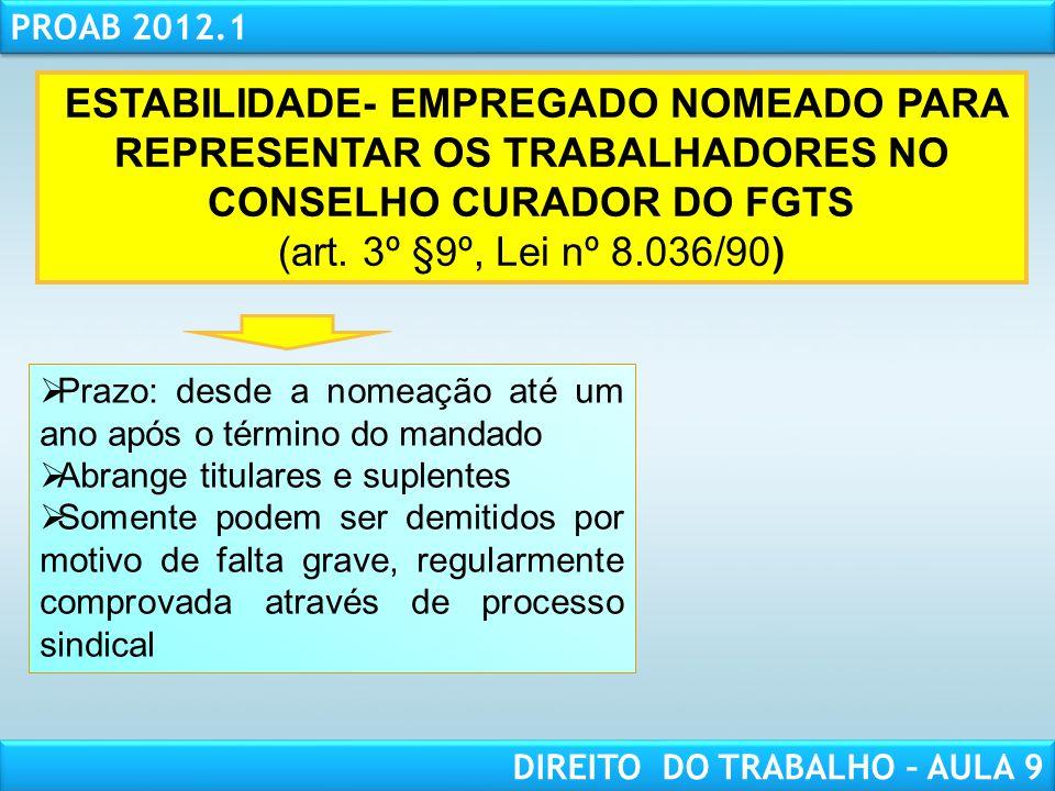 RESPONSABILIDADE CIVIL AULA 1 PROAB 2012.1 DIREITO DO TRABALHO – AULA 9 ESTABILIDADE- EMPREGADO NOMEADO PARA REPRESENTAR OS TRABALHADORES NO CONSELHO