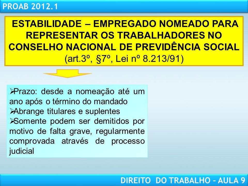RESPONSABILIDADE CIVIL AULA 1 PROAB 2012.1 DIREITO DO TRABALHO – AULA 9 ESTABILIDADE – EMPREGADO NOMEADO PARA REPRESENTAR OS TRABALHADORES NO CONSELHO