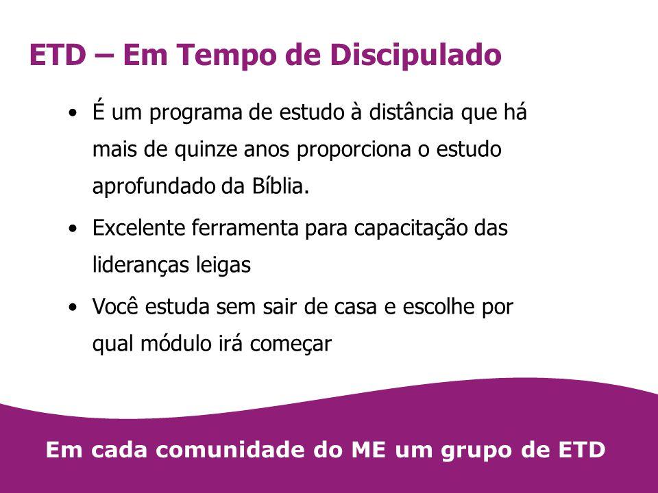 ETD – Em Tempo de Discipulado É um programa de estudo à distância que há mais de quinze anos proporciona o estudo aprofundado da Bíblia. Excelente fer