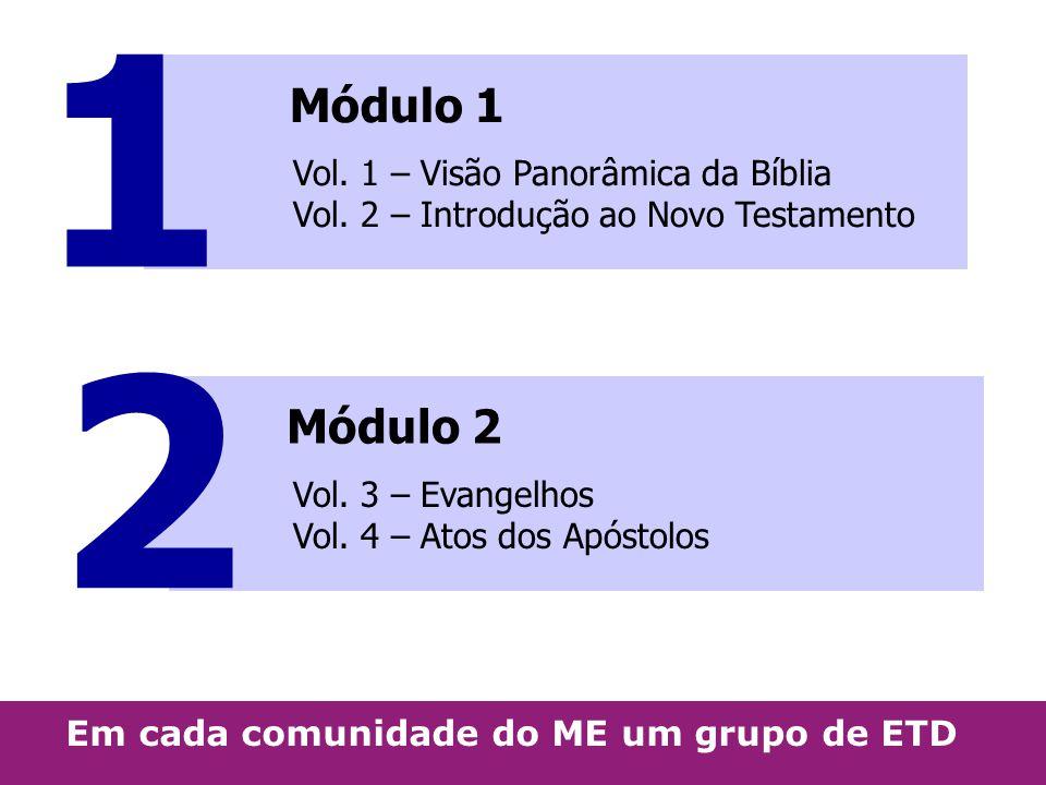 Módulo 1 Vol. 1 – Visão Panorâmica da Bíblia Vol. 2 – Introdução ao Novo Testamento Módulo 2 Vol. 3 – Evangelhos Vol. 4 – Atos dos Apóstolos 1 2 Em ca