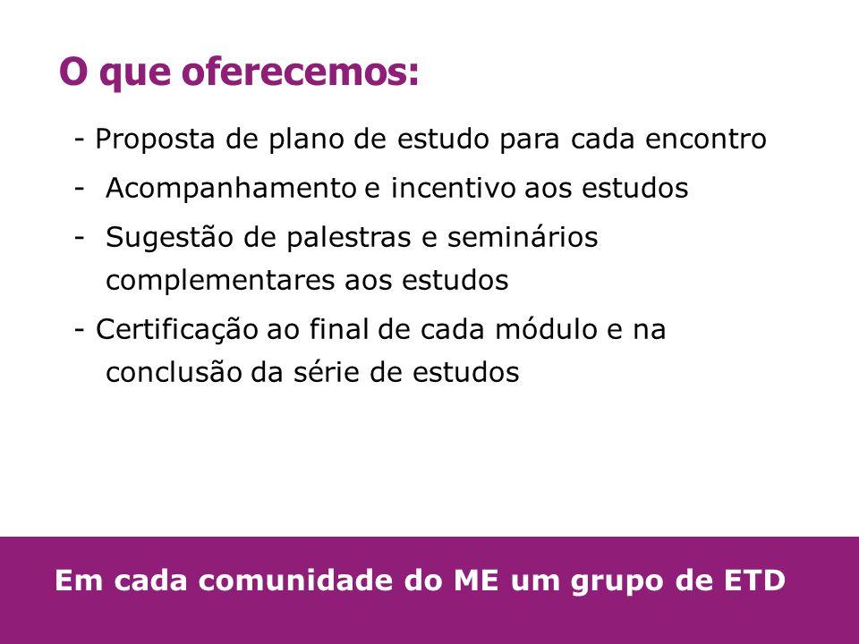 O que oferecemos: - Proposta de plano de estudo para cada encontro -Acompanhamento e incentivo aos estudos -Sugestão de palestras e seminários complem
