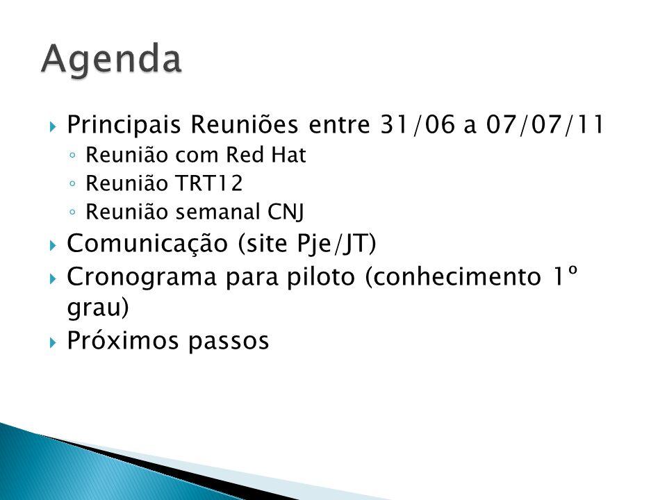 Principais Reuniões entre 31/06 a 07/07/11 Reunião com Red Hat Reunião TRT12 Reunião semanal CNJ Comunicação (site Pje/JT) Cronograma para piloto (conhecimento 1º grau) Próximos passos