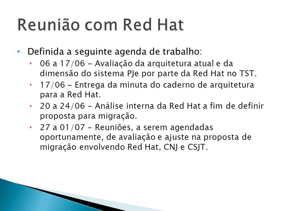 Definida a seguinte agenda de trabalho: 06 a 17/06 - Avaliação da arquitetura atual e da dimensão do sistema PJe por parte da Red Hat no TST.