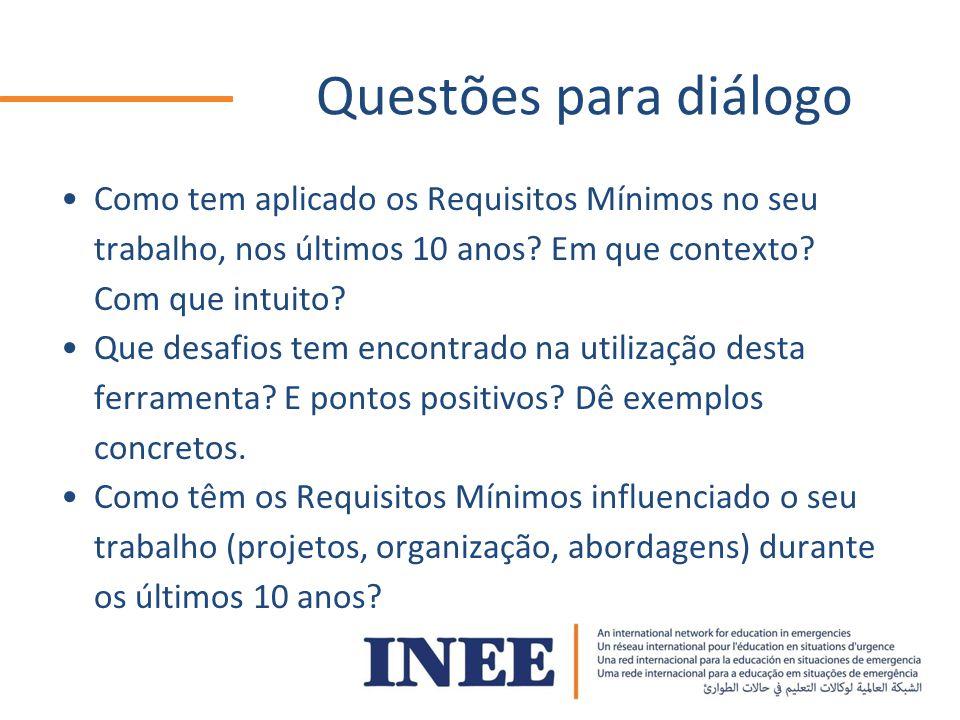 Questões para diálogo Como tem aplicado os Requisitos Mínimos no seu trabalho, nos últimos 10 anos.