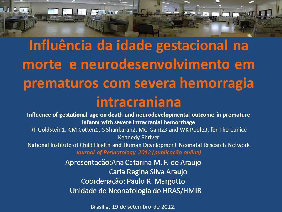 Introdução Hemorragia intracraniana (HIC) grave ocorre primariamente na primeira semana de vida e prejudica o neurodesenvolvimento de crianças prematuras.