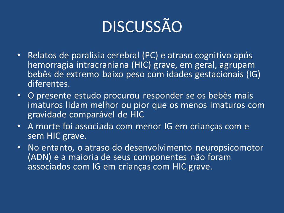 DISCUSSÃO Relatos de paralisia cerebral (PC) e atraso cognitivo após hemorragia intracraniana (HIC) grave, em geral, agrupam bebês de extremo baixo pe