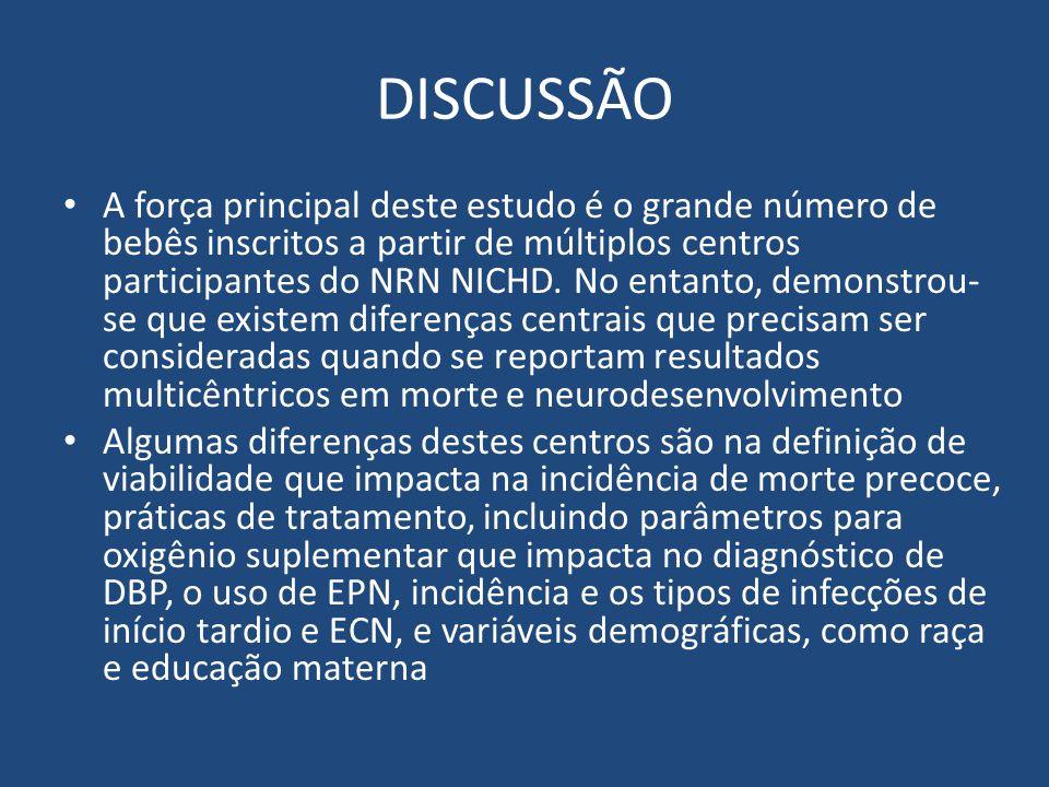 DISCUSSÃO A força principal deste estudo é o grande número de bebês inscritos a partir de múltiplos centros participantes do NRN NICHD. No entanto, de