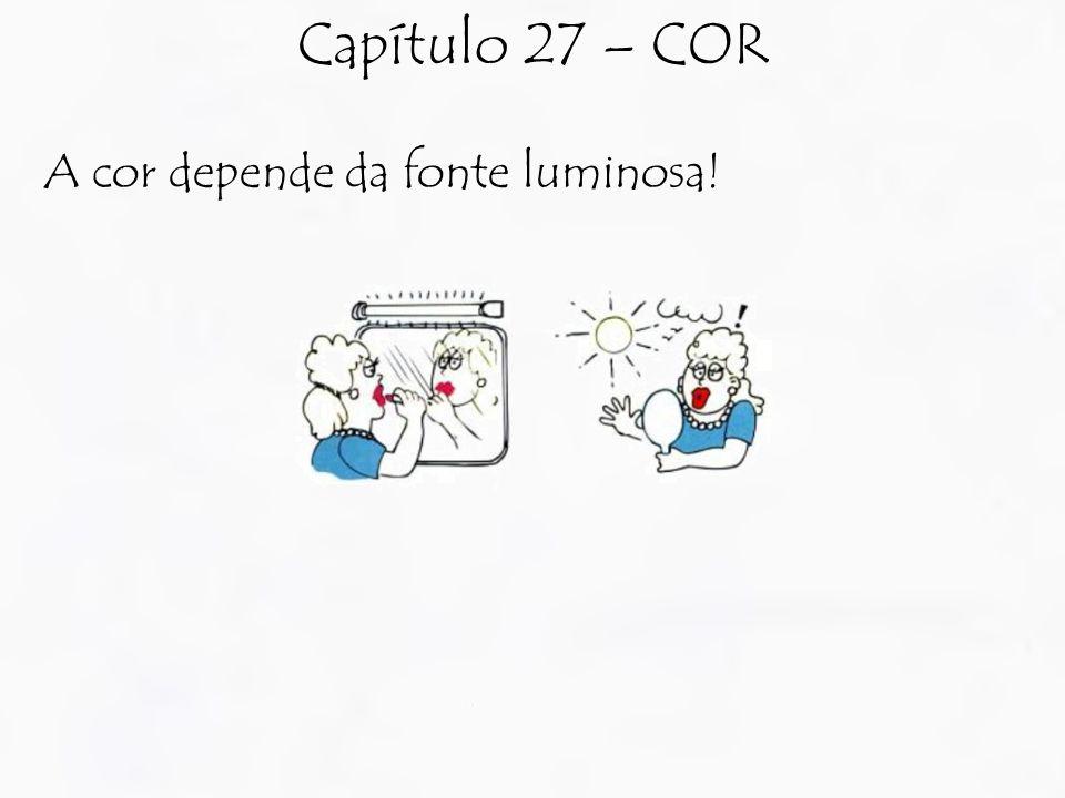 A cor depende da fonte luminosa! Capítulo 27 – COR