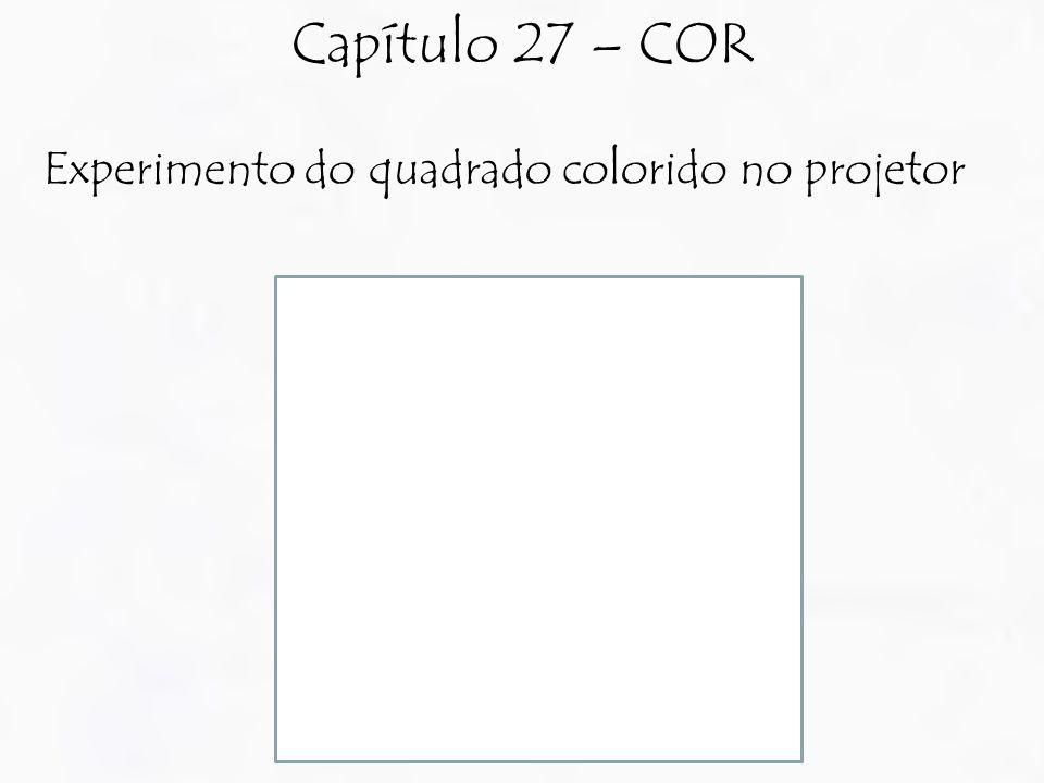 Experimento do quadrado colorido no projetor Capítulo 27 – COR