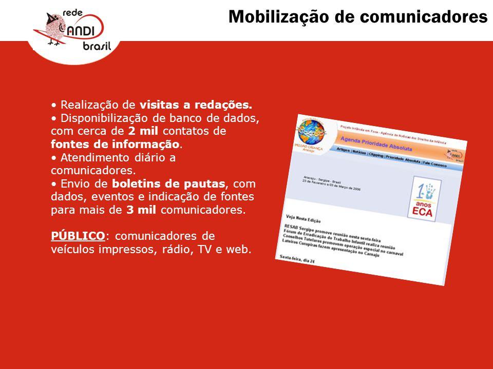 Mobilização de comunicadores Realização de visitas a redações. Disponibilização de banco de dados, com cerca de 2 mil contatos de fontes de informação