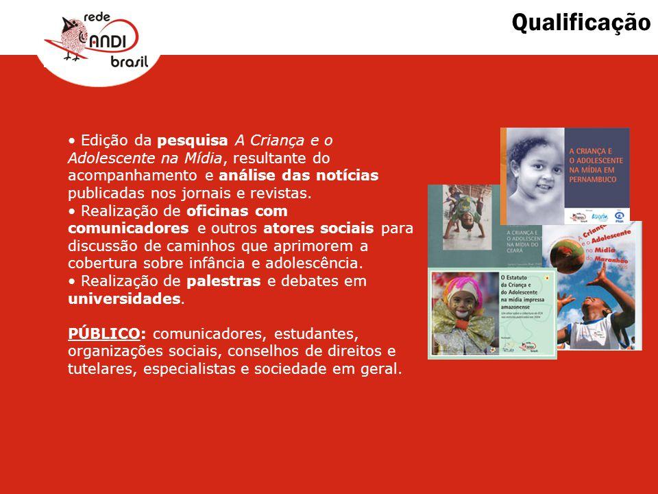 Qualificação Edição da pesquisa A Criança e o Adolescente na Mídia, resultante do acompanhamento e análise das notícias publicadas nos jornais e revis