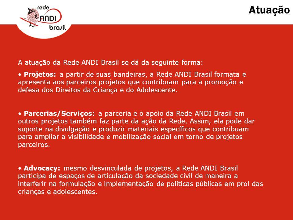Atuação A atuação da Rede ANDI Brasil se dá da seguinte forma: Projetos: a partir de suas bandeiras, a Rede ANDI Brasil formata e apresenta aos parcei