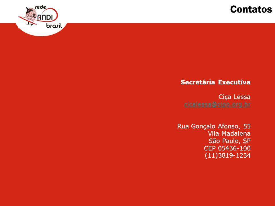 Contatos Secretária Executiva Ciça Lessa cicalessa@cipo.org.br Rua Gonçalo Afonso, 55 Vila Madalena São Paulo, SP CEP 05436-100 (11)3819-1234