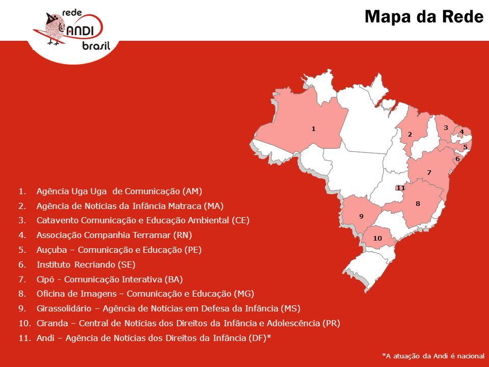Mapa da Rede 1 2 3 4 6 5 7 8 9 10 11 1.Agência Uga Uga de Comunicação (AM) 2.Agência de Notícias da Infância Matraca (MA) 3.Catavento Comunicação e Ed