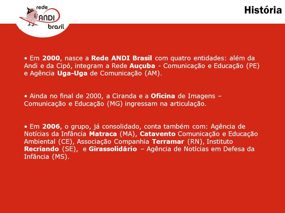 História Em 2000, nasce a Rede ANDI Brasil com quatro entidades: além da Andi e da Cipó, integram a Rede Auçuba - Comunicação e Educação (PE) e Agênci