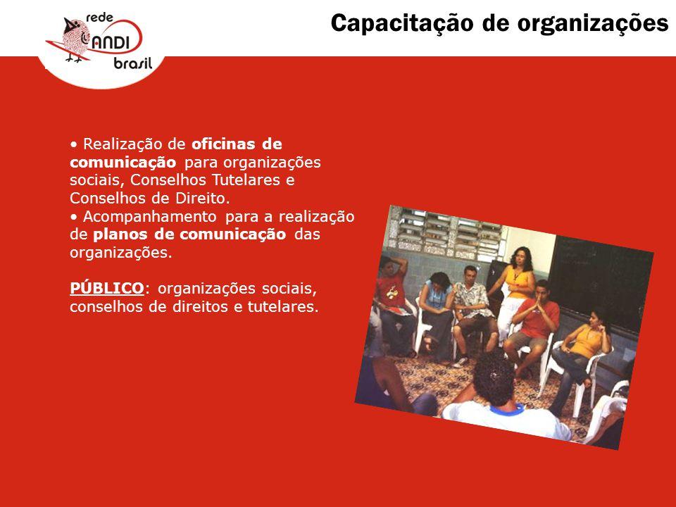 Capacitação de organizações Realização de oficinas de comunicação para organizações sociais, Conselhos Tutelares e Conselhos de Direito. Acompanhament