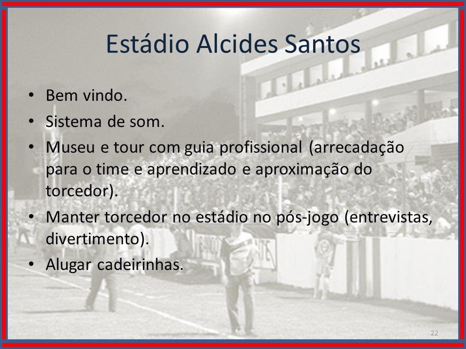 Wilson Bastos Estádio Alcides Santos Bem vindo. Sistema de som. Museu e tour com guia profissional (arrecadação para o time e aprendizado e aproximaçã