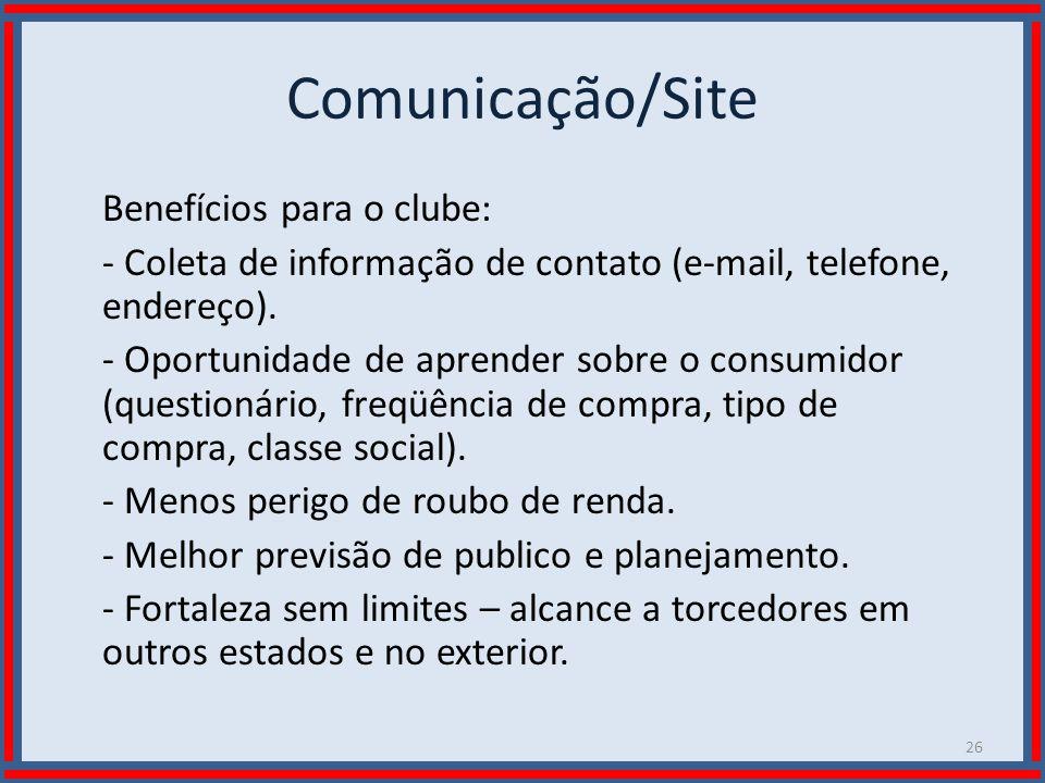 Wilson Bastos Comunicação/Site Benefícios para o clube: - Coleta de informação de contato (e-mail, telefone, endereço). - Oportunidade de aprender sob