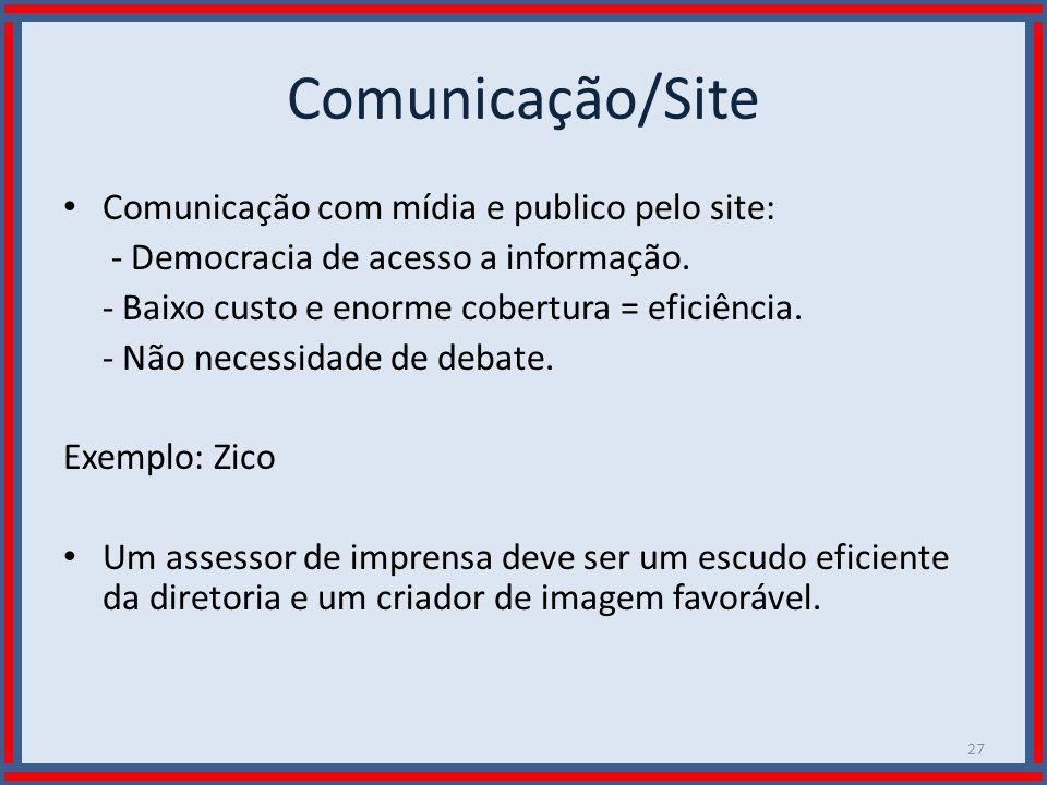 Wilson Bastos Comunicação/Site Comunicação com mídia e publico pelo site: - Democracia de acesso a informação. - Baixo custo e enorme cobertura = efic