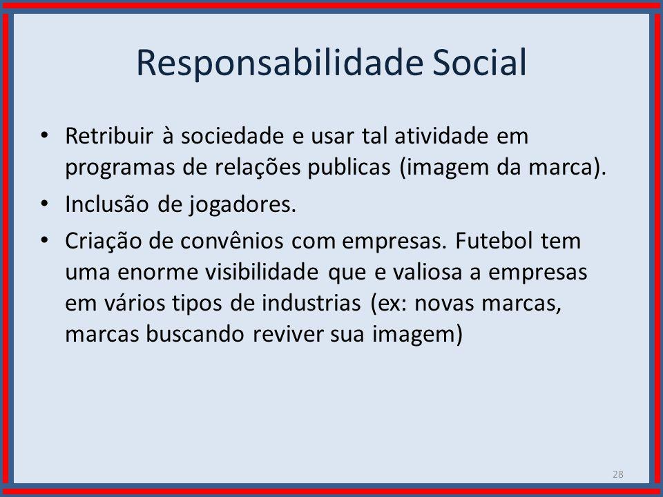 Wilson Bastos Responsabilidade Social Retribuir à sociedade e usar tal atividade em programas de relações publicas (imagem da marca). Inclusão de joga