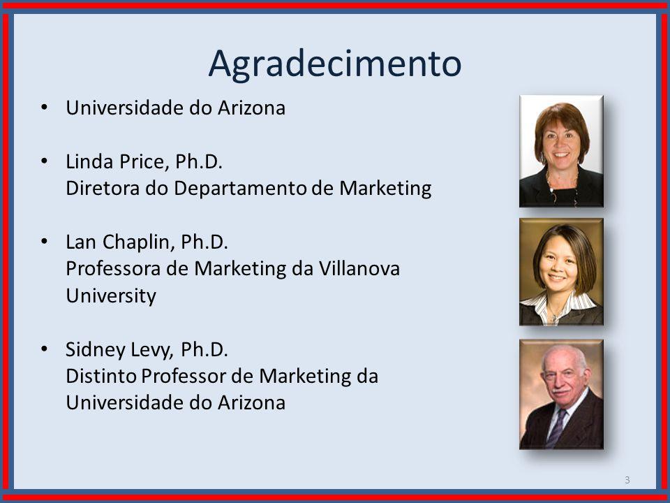 Wilson Bastos Agradecimento Universidade do Arizona Linda Price, Ph.D. Diretora do Departamento de Marketing Lan Chaplin, Ph.D. Professora de Marketin