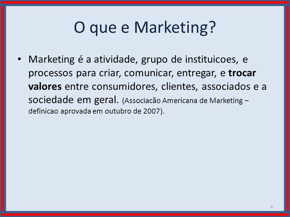 Wilson Bastos O que e Marketing? Marketing é a atividade, grupo de instituicoes, e processos para criar, comunicar, entregar, e trocar valores entre c