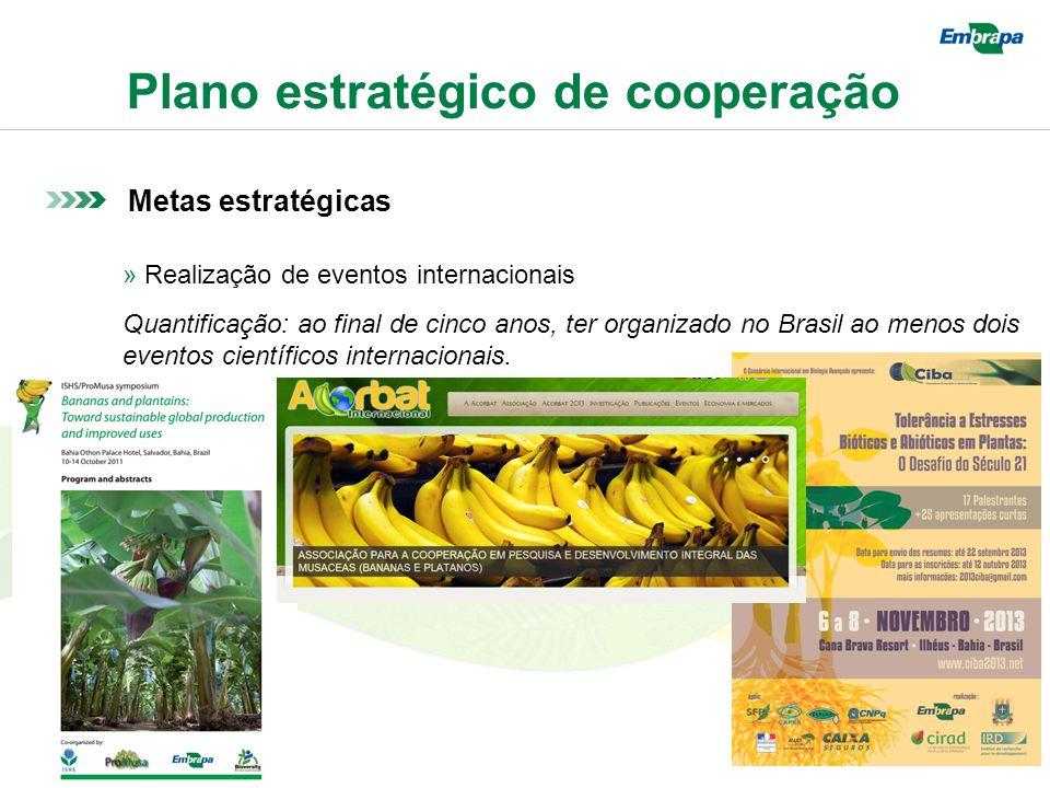 Plano estratégico de cooperação Metas estratégicas » Realização de eventos internacionais Quantificação: ao final de cinco anos, ter organizado no Brasil ao menos dois eventos científicos internacionais.