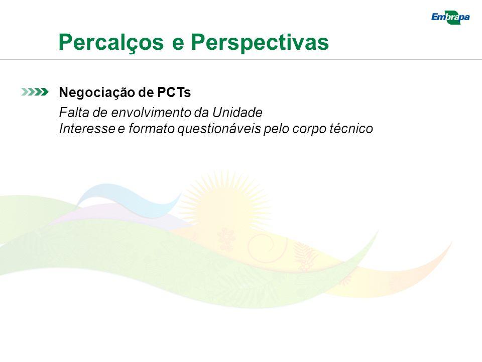 Percalços e Perspectivas Negociação de PCTs Falta de envolvimento da Unidade Interesse e formato questionáveis pelo corpo técnico