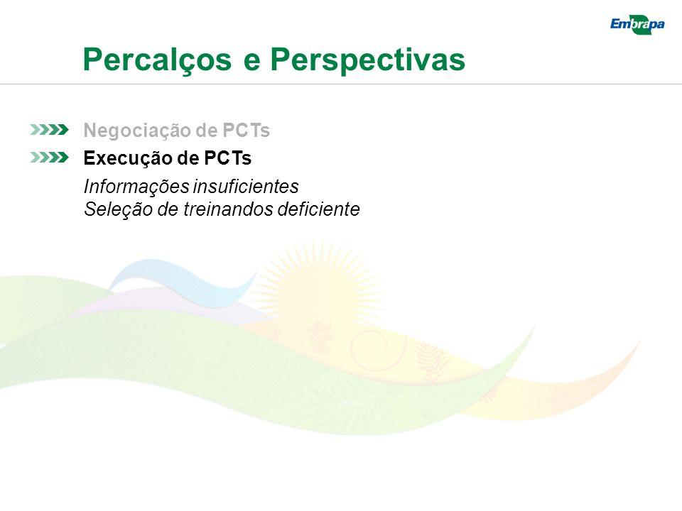 Percalços e Perspectivas Negociação de PCTs Execução de PCTs Informações insuficientes Seleção de treinandos deficiente