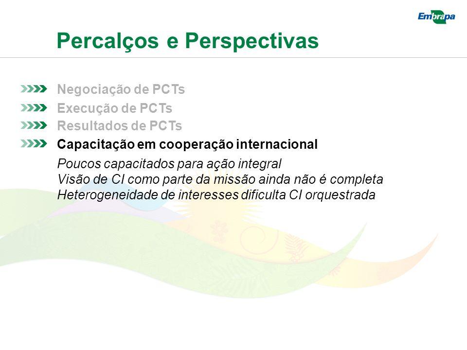 Percalços e Perspectivas Negociação de PCTs Resultados de PCTs Execução de PCTs Capacitação em cooperação internacional Poucos capacitados para ação integral Visão de CI como parte da missão ainda não é completa Heterogeneidade de interesses dificulta CI orquestrada