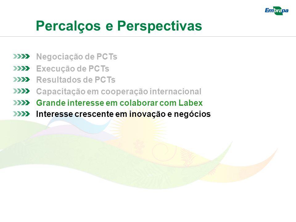 Percalços e Perspectivas Negociação de PCTs Resultados de PCTs Execução de PCTs Capacitação em cooperação internacional Grande interesse em colaborar com Labex Interesse crescente em inovação e negócios