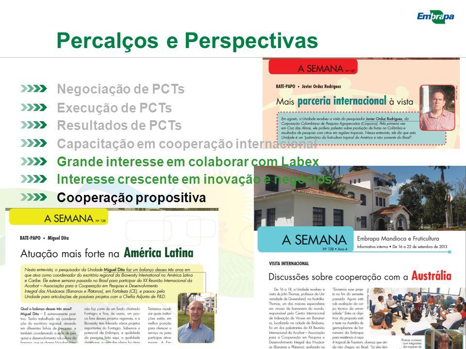 Percalços e Perspectivas Negociação de PCTs Resultados de PCTs Execução de PCTs Capacitação em cooperação internacional Grande interesse em colaborar com Labex Interesse crescente em inovação e negócios Cooperação propositiva