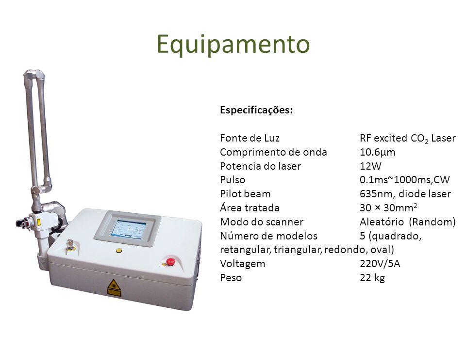 Equipamento Especificações: Fonte de Luz RF excited CO 2 Laser Comprimento de onda 10.6μm Potencia do laser 12W Pulso 0.1ms~1000ms,CW Pilot beam 635nm