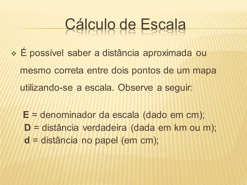 É possível saber a distância aproximada ou mesmo correta entre dois pontos de um mapa utilizando-se a escala.