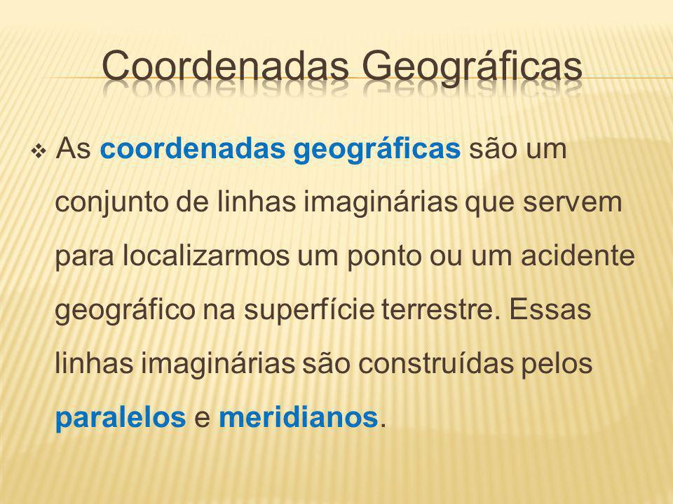 As coordenadas geográficas são um conjunto de linhas imaginárias que servem para localizarmos um ponto ou um acidente geográfico na superfície terrestre.