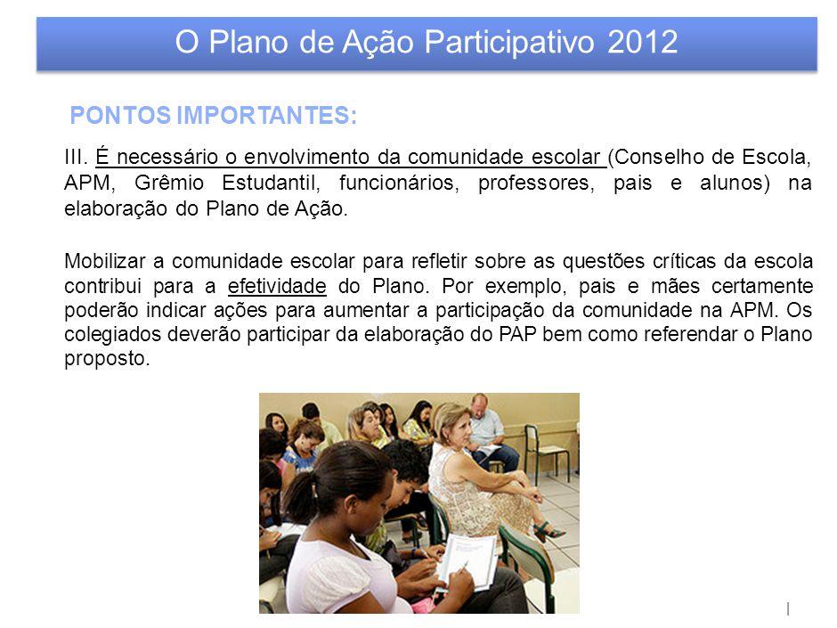 | O Plano de Ação Participativo 2012 PONTOS IMPORTANTES: III. É necessário o envolvimento da comunidade escolar (Conselho de Escola, APM, Grêmio Estud