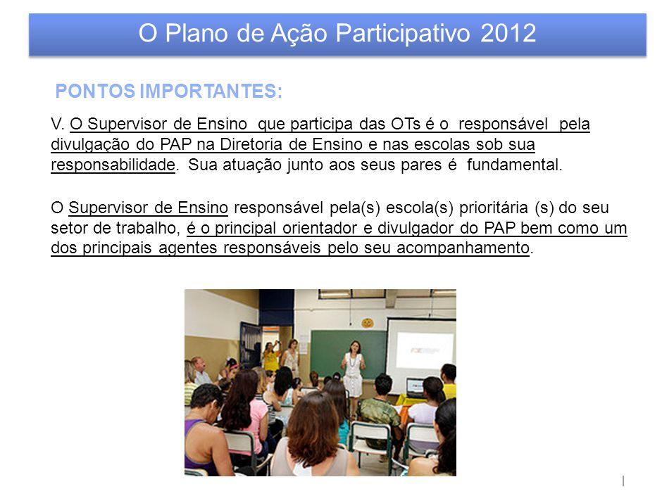 | O Plano de Ação Participativo 2012 PONTOS IMPORTANTES: V. O Supervisor de Ensino que participa das OTs é o responsável pela divulgação do PAP na Dir