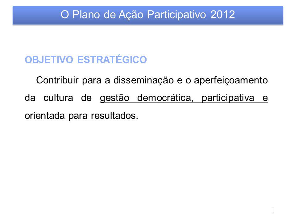 | OBJETIVO ESTRATÉGICO Contribuir para a disseminação e o aperfeiçoamento da cultura de gestão democrática, participativa e orientada para resultados.